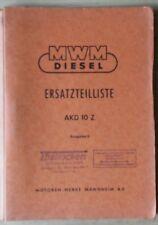 MWM Klein-Dieslemotoren AKD 10 Z Ersatzteilliste