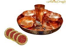AsiaCraft Indian Pure Copper Dinner Set Thali Plate With Bowl, Glass & Spoon