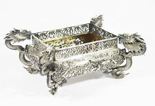 19TH C ANTIQUE CHINESE EXPORT SILVER JARDINIERE SIGN WANG HING DRAGON FIGURES