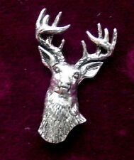 Pewter Frontal  Stag Head Red Deer Brooch Pin  Quality
