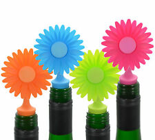 Flower Bottle Stoppers - 4 Pack - Wine / Beer / Soda Silicone Cork - Novelty