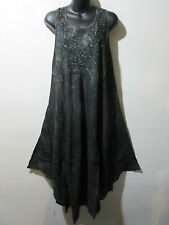 Dress Fits 1X 2X 3X 4X Plus Sundress Black Gold Tie Dye Tunic A Shape NWT 515
