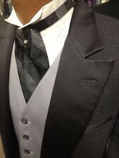 VINTAGE '80S GREY TUXEDO TAILCOAT WITH VEST AND ASCOT TIE 38 short BARGAIN