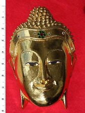 Thai Buddha Face Image - Gold Leaf - Carved Wooden Sculpture     BH011