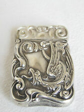 ANTIQUE WINGED DRAGON  STERLING SILVER VESTA MATCH SAFE