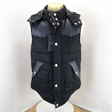 NWT NEW ZARA MAN DENIM COLLECTION FAUX LEATHER TRIM HOODED PLAID PUFFER VEST M