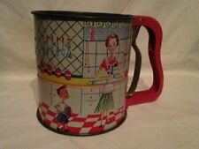 Vintage Androck Hand-i-Sift Kitchen Flour Sifter 1950's Kitchen Scene Tin Litho