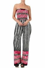Sakkas Spiral Stripe Smocked Tube Top Wide Leg Jumpsuit womens sz M