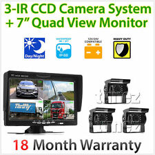 "7"" Quad Monitor Split Screen Reversing 3 Camera IR CCD 4PIN Kit Truck 24V/12V"
