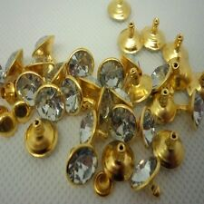 DIY Hot sales 10pcs 10mm Golden white rivets crystal leather craft punk stuffs B