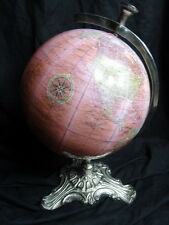 Fancy Celestial Planetary World Revolving Pink Globe of Earth On Silver Rococo