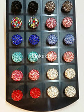 Wholesale Job Lot of 12 Pairs Fashion Big Shamballa Earrings Xmas Gifts Retail