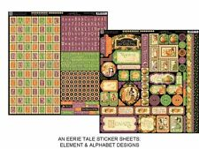 "GRAPHIC 45 ""AN EERIE TALE"" 12X12 STICKER SHEETS  HALLOWEEN SCRAPJACK'S PLACE"