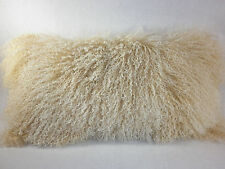 Real Mongolian Tibetan Lamb Fur Beige  Snowtop Pillow  made in USA Tibet cushion