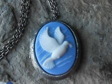 WHITE DOVE CAMEO ANTIQUED SILVER PLATED LOCKET - BLUE, BIRD, CHRISTMAS, UNIQUE