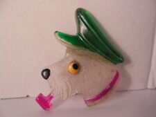 Vintage Lucite Plastic Adorable Pipe Smoking Dog Pin Brooch