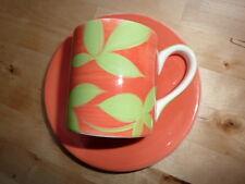 Whittard Platillo de taza de café espresso Naranja Verde Moderno Retro Gourmet Chic FAB!!!