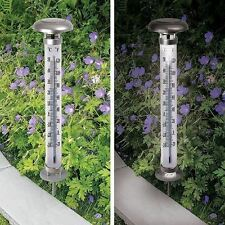 Outdoor Thermometer Gauge with Solar Powered LED Light Rechargeable Garden Lamp