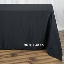 "5 Pk Black 90x132""  Polyester Rectangle Seamless Tablecloth Wedding Party"
