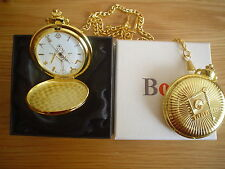 *MASONIC GOLD ALLOY METAL POCKET WATCH, 13in. chain.[ LARGE ]
