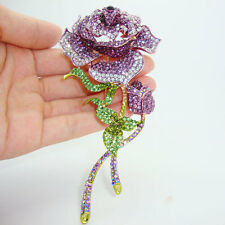 "HUGE 5.31"" RUNWAY PURPLE ROSE FLOWER GREEN STEM BROOCH SWAROVSKI CRYSTALS - NEW"