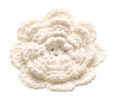 Sublime Albatross White Hand Woven Cotton Rose & Dual Pin Back Brooch(Ns16)