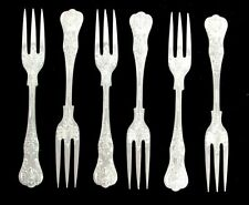 SHEFFIELD KINGS PATTERN STERLING SILVER 6 HORS D' OEUVRES FLAT TINES FORKS