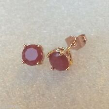 B16 Plum 7mm round ruby,18k ROSE GOLD fill stud earrings large butterfly GFTBOXD