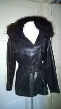 Vintage Leather Jacket with Fox Fur Hood Small 10 / 12