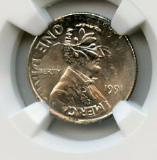Mint Error 1991 Lincoln Cent 1C Struck on 1991 Dime 10C Ngc Ms 65