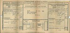 Compagnie du Gaz de Paris GDF 1941 Vieux papier Occupation guerre RARE