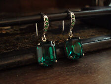 Vintage Deco Emerald Green Emerald Cut Crystal Drop Earrings. Very Downton Abbey