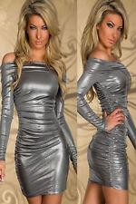 Mini Vestido nuevo Brillante Plata Del Hombro Club Fiesta Ropa Talla 10-12