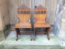 Pair Victorian Carved Oak Hall Dining Chairs Salon Gothic Pugin Strawberry Hill