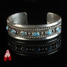 Vintage Navajo blue turquoise sterling silver 92.5 bracelet Native American pawn