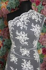 SK0059 Sold by 1/2 yard Ivory french corded Lace bridal Fabric 56 Wide Scallop