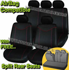 Black Red Stitching Airbag Friendly Car 50-50 60-40 Split Rear Seat Covers Set