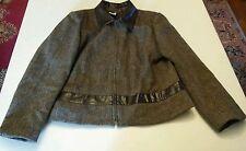 015 Vtg Womens J.G. Hook Herringbone Wool Leather Look Jacket Coat Size 14P