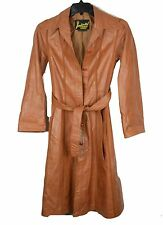 Vintage 70's Women's Imperial Size 8 Leather Lined long jacket Coat Button Wrap