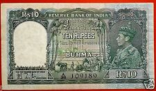 ★ BRITISH INDIA 10 RUPEES BURMA ISSUE NOTE KG 6 XF+ PREFIX A TAYLOR GREEN COLOUR