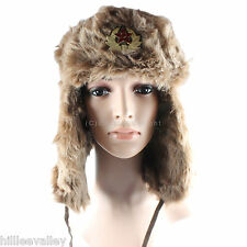 TRAPPER HAT FUR LINED RUSSIAN COSSACK SKI HAT WINTER WARM THERMAL SHOWER PROOF