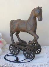 Cast Iron Pull Toy Horse Vintage Style Statue Reproduction Figurine
