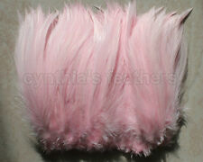 "100+ (7.0g, 1/4Oz) Baby Pink 5-7"" Hackle Rooster COQUE Feathers for crafting"
