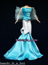 Aquamarine and White Satin Evening Gown Haute Couture Fashion for Barbie Doll 1Q