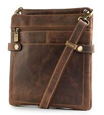 Visconti Distressed Leather Fashion Slim Cross-Body Messenger Bag Medium, Tan