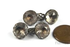 ANTIQUE ENGLISH GEORGIAN PERIOD SILVER FOILED PASTE CUFF / SLEEVE LINKS c1780