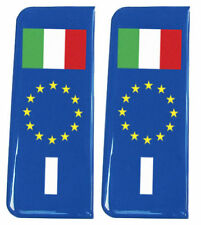 2x Italy (I) EU Blue - Gel Domed Number Plate Badges/Decals 107x42mm