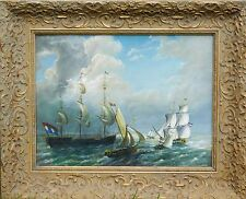 SIGNED BEAUTIFUL OLD PAINTING - FRENCH SHIP TRAFFIC ON THE SEA