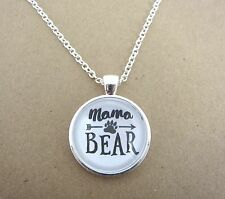 Mothers Day Mama Bear Design Silver Pendant Glass Necklace New in Gift Bag