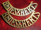 SHOULDER TITLES-WW1 1920-1955 MATCHED PAIR BEDFORD & HERTS 'BEDES&HERTS'
